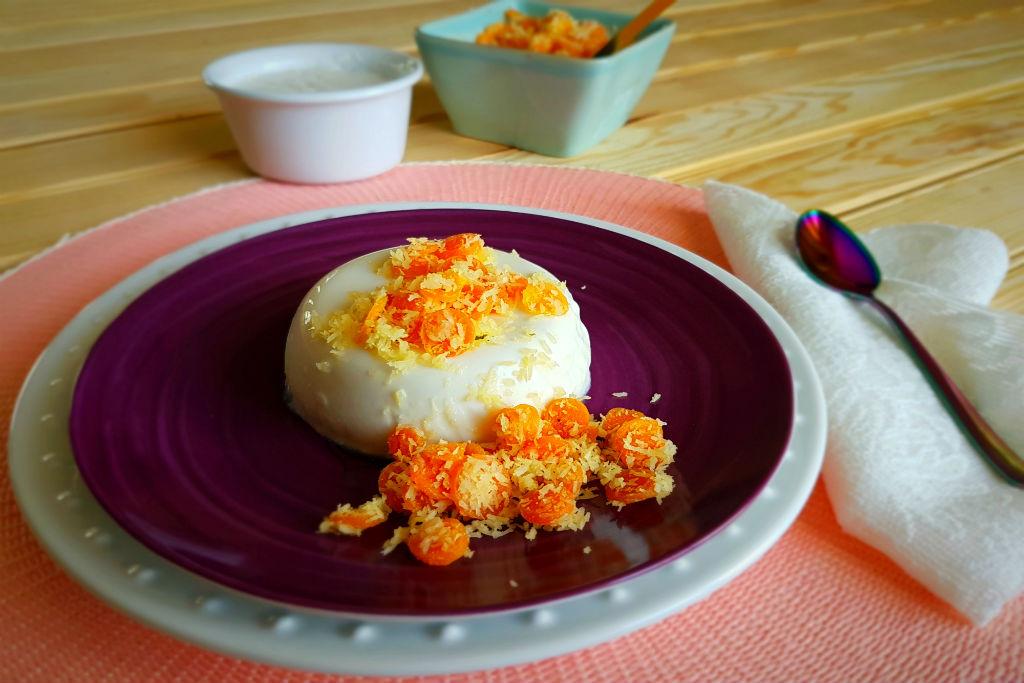 Panacotta de hortelã com crumble de cenoura