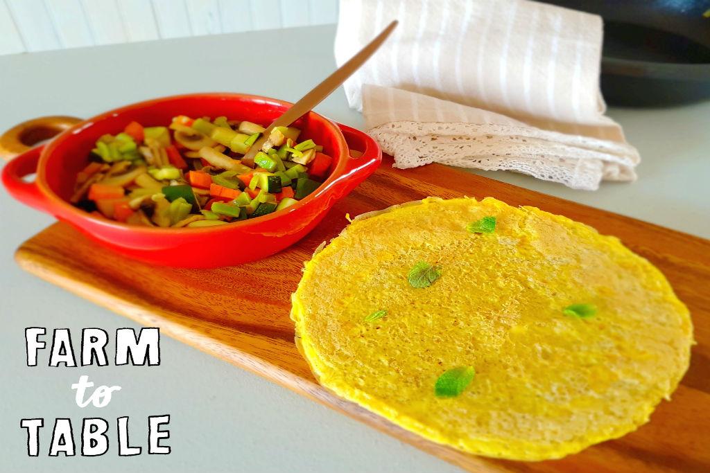Tortilha de quinoa com estufado de legumes